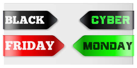 Black friday and Cyber Monday tag ribbon. Label and Sticker for shop goods. Realistic modern style. Vector Illustration Isolated on white background.