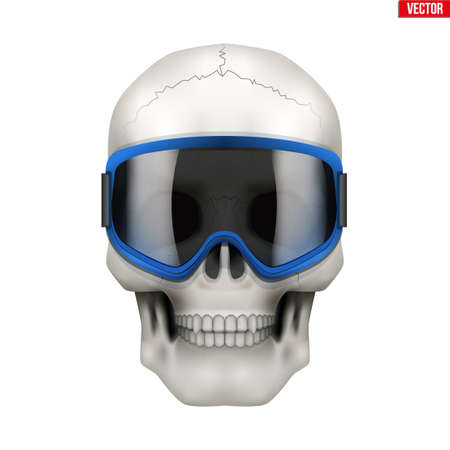Skull with ski goggles. Extreme label with skull head. Sticker and patches winter extreme. Vector Illustration on isolated white background