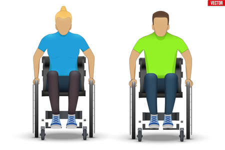 Disabled white woman and man in wheelchair. Set of Disability people sitting in wheelchair and hold wheel.Vector Illustration isolated on white background.