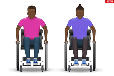 Disabled black man and woman in wheelchair. Set of Disability people sitting in wheelchair and hold wheel.Vector Illustration isolated on white background.