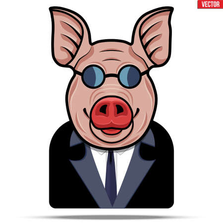 Pig in a suit and glasses. Businessman in the guise of a boar. Unclean and fraudulent business concept and metaphor. Vector Illustration. Illustration