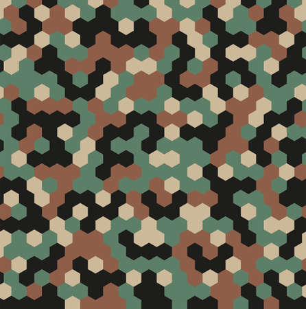 Hexagon Forest Camouflage seamless patterns. Leaf cyber camo. Vector Illustration.