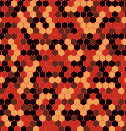 Hexagon Urban Fire Camouflage seamless patterns. Leaf cyber camo. Vector Illustration.