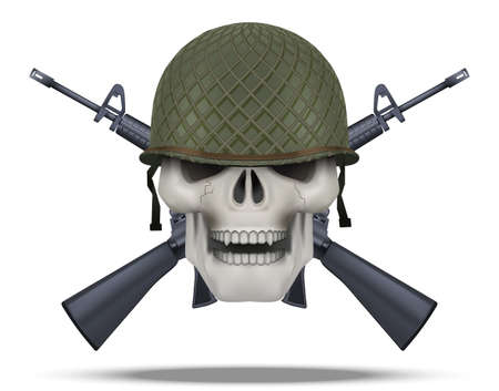 Skull with USA helmet and rifles cross. American military for labels and patches. Helmet and m16 rifles. Vector Illustration on isolated white background