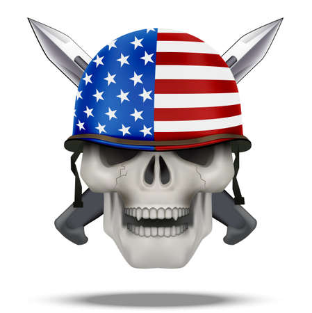 Skull with USA helmet and knife cross. American military for labels and patches. USA Flag on helmet. Vector Illustration on isolated white background