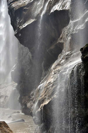 Caucasian mountain waterfall closeup