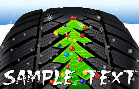 snow tires: Christmas tree on the tire tread Illustration