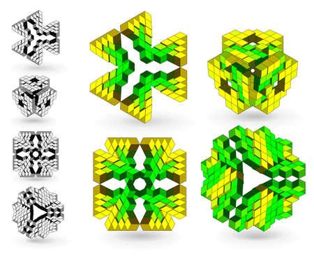 solid figure: Set di elementi di design