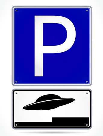 platillo volador: UFO se�al de aparcamiento Vectores