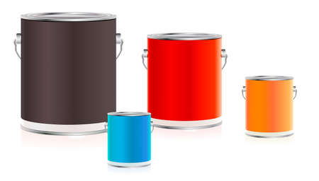 Set of colorful paint buckets Illustration