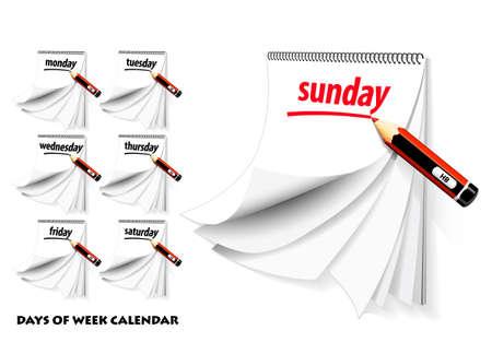 Days of week calendar Illustration