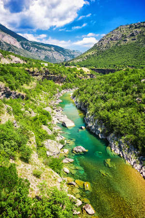 top view of mountain river and canyon. the Tara river canyon, Durmitor national Park, Montenegro