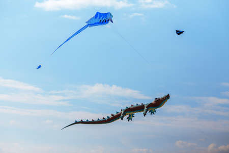 air crocodile kite and blue kite flying high in the sky. Kite festival. Family holiday. Kite competition