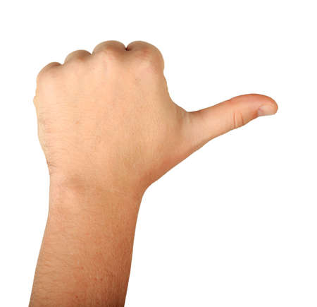 Gesture male hand with three fingers rear view isolated on white background. Finger count one. thumb up 스톡 콘텐츠