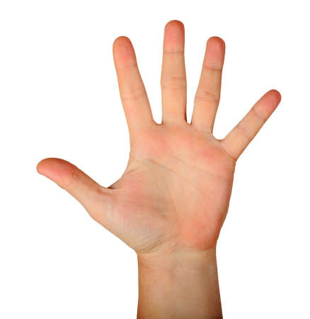 Gesture male hand open palm with five fingers isolated on white background. Finger count five. hello sign