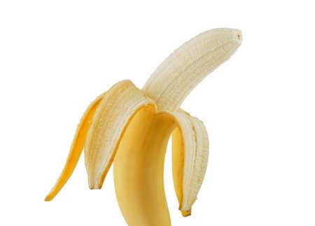 one ripe yellow half peeled banana isolated on white background Stock Photo