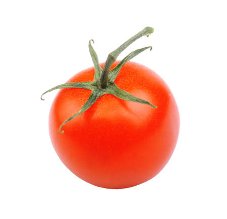 one whole ripe red juicy shiny tomato with green sprig isolated on white background