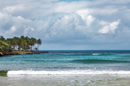 sea Bay in Samana, Dominican Republic. Sea, shore with palm trees and sky with storm clouds