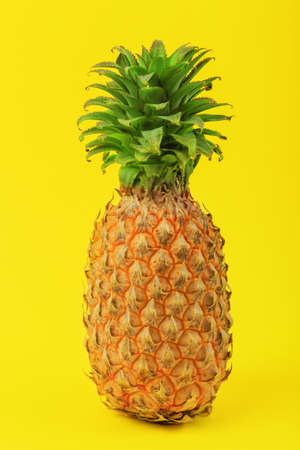 one big whole pineapple on yellow background, tropical fruit