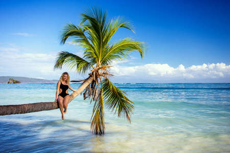 young beautiful girl sitting on a palm tree above the sea