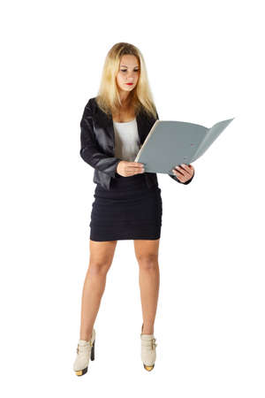 business woman holding folder with papers on white background