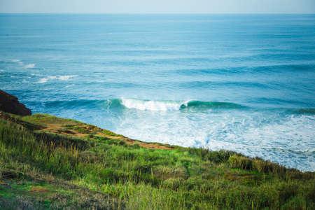 Ocean view from coast. Surfers spot. Nazare, Portugal