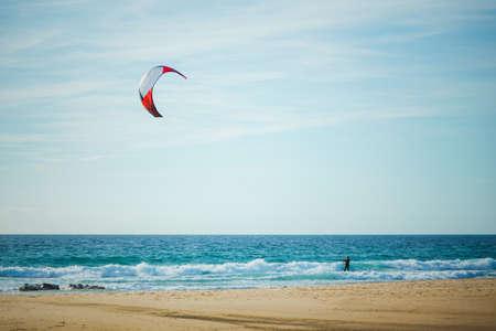 kitesurfing in sunny day, Tarifa, Spain Stock Photo