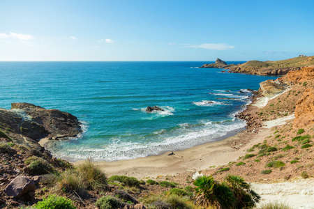 Rocky coast of Spain, natural Park of Cabo de Gato, Andalusia 版權商用圖片