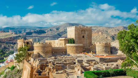 Medieval castle Alcazaba of Almeria, travel sites in Andalusia, Spain