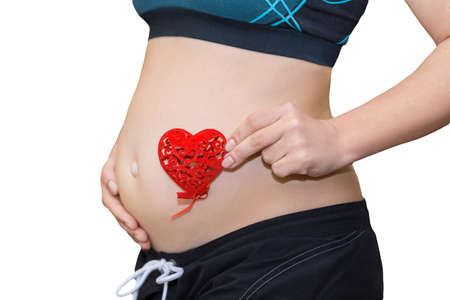 Close up on pregnant belly. Woman expecting baby holding red heart with love isolated on white background