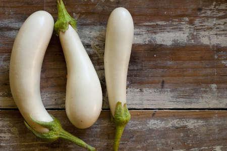 aubergine: White mini eggplants