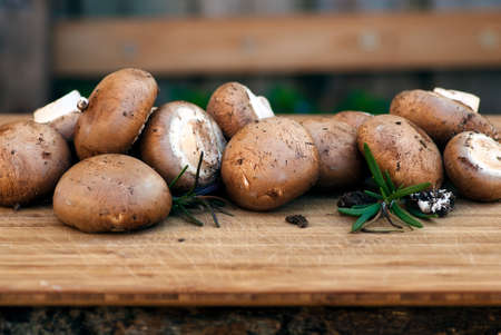 vegtables: bunch of brown button mushrooms