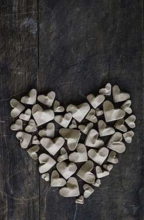Heart shaped with handmade paper hearts
