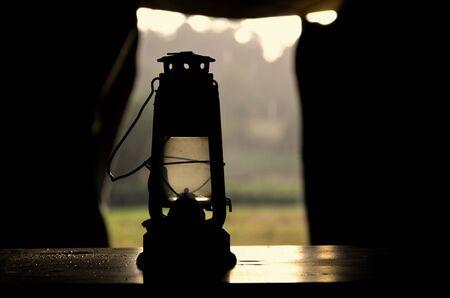 kerosene: kerosene lamp in the tent Stock Photo