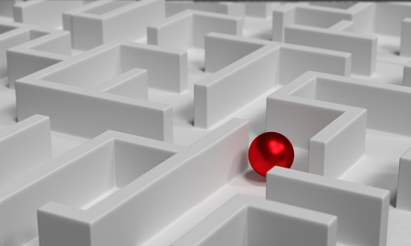 impasse: 3d red sphere in labyrinth Stock Photo