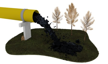outflow: industrial pollution 3D illustration
