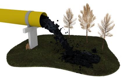 industrial pollution 3D illustration