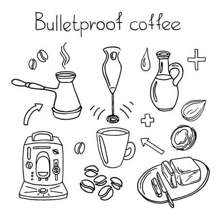 butter knife: Doodle sketch. Recipe Bulletproof coffee. Set. Coffee machine, blender, butter, coconut oil, coffee beans, arrow, cup, knife. Vector illustration isolated on white background eps.10