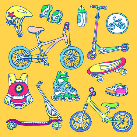 Color set of sporting goods for kids. Vector icons Illustration. Doodle. Scooter, rollers, skate, bicycle, sneakers, backpack, helmet, water. Summer children's holiday
