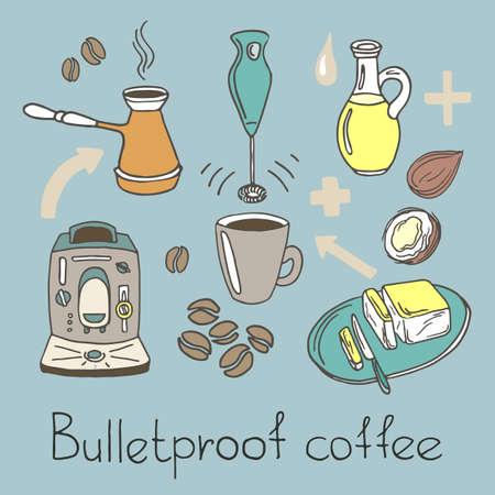 Kleur ingesteld. Recept Kogelvrije koffie. Koffiezetapparaat, blender, boter, kokosolie, koffiebonen, pijl, beker, mes. Doodle schets. Vectordieillustratie op witte achtergrond eps 10 wordt geïsoleerd Stock Illustratie