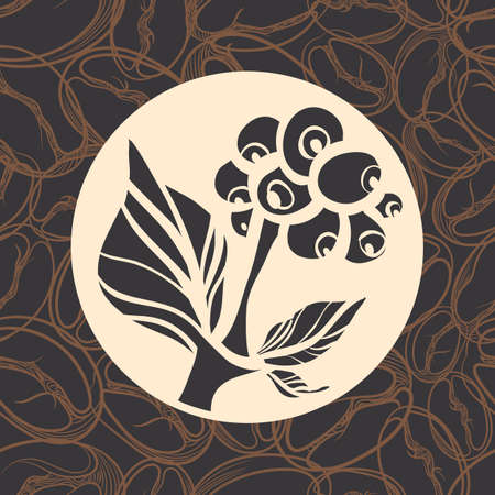 Branch of coffee tree with leaves and beans. Vector silhouette. Logo, symbol, emblem design. Çizim