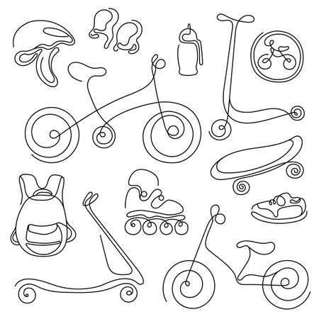 ライン アートのセット。子供のためのスポーツ用品のスケッチを落書き。ベクトルのアイコンの図。スクーター、ローラー、スケート、自転車、ス