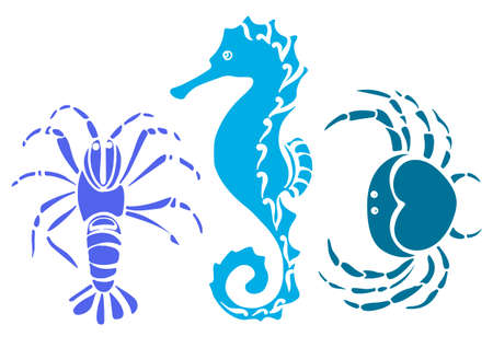 Set of crab, sea horse, cancer. Sketch style vector illustration isolated on white background. Marine collection. Underwater world. Silhouette shapes