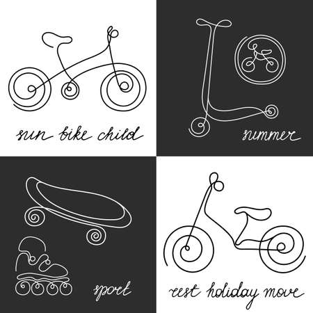 Linear monochrome symbols set. Doodle sketch sporting goods for kids. Vector icons Illustration. Scooter, rollers, skate, bike. Summer children's holiday