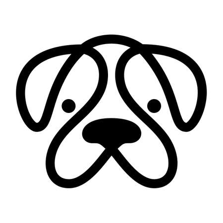 Bulldog. Monochrome dog head logo, symbol design on white background. Vector illustration