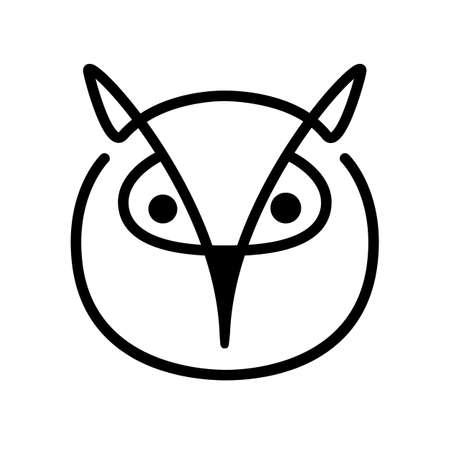 Owl. Bird head contour on a white background. Line art. Black logo, emblem, vector illustration