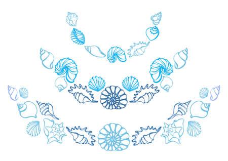Reeks silhouetten van overzeese shells op witte achtergrond. Zeester, shell, conch, spiraal. Onderzeese wereld. Plaats voor tekst. Vector. Sjabloon met bogen voor wenskaart, zee winkels, restaurants, hotels Stock Illustratie