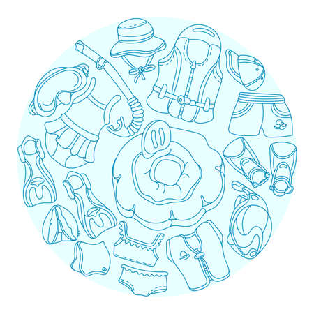 Doodle sketch swimming goods for kids. Vector Illustration in circle. Set. Vest, mask, tube, swimsuit, cap, panama, fins, swimming trunks. Summer childrens holiday Illustration