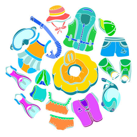 Set with swimming goods for kids on white background. . Vector color illustration in circle. Vest, mask, tube, swimsuit, cap, panama, fins, swimming trunks. Summer childrens holiday Çizim