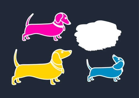 Color template of silhouettes of dachshunds. Communication, chatting, search. Place for text. Vector illustration, background.